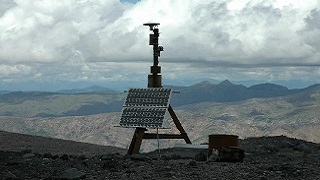 A weather station set up outside