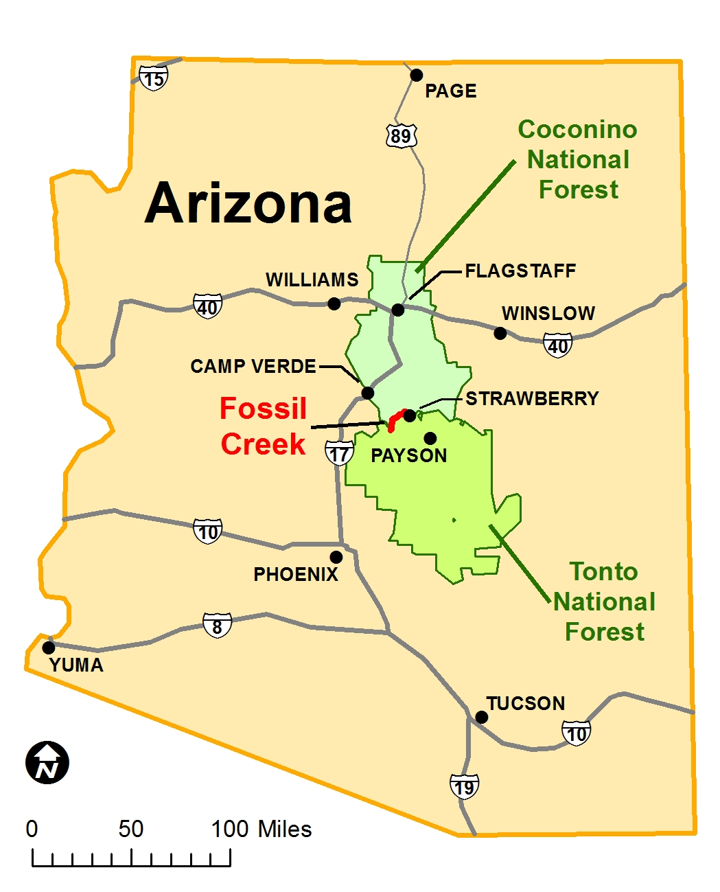 Fossil Creek Az Map Coconino National Forest   Planning
