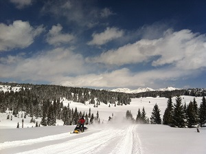 A man rides on a snowmobile on a groomed winter rec trail