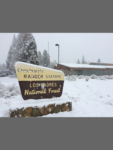 Chuchupate Ranger Station in the snow, Mt. Pinos Ranger District, December 6, 2018