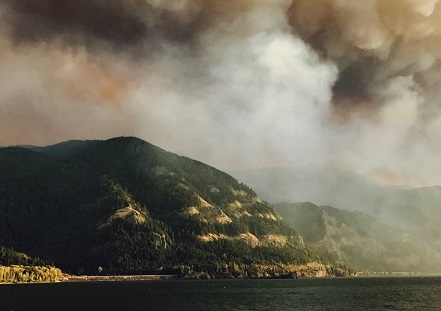 A huge plume of smoke along the Columbia River
