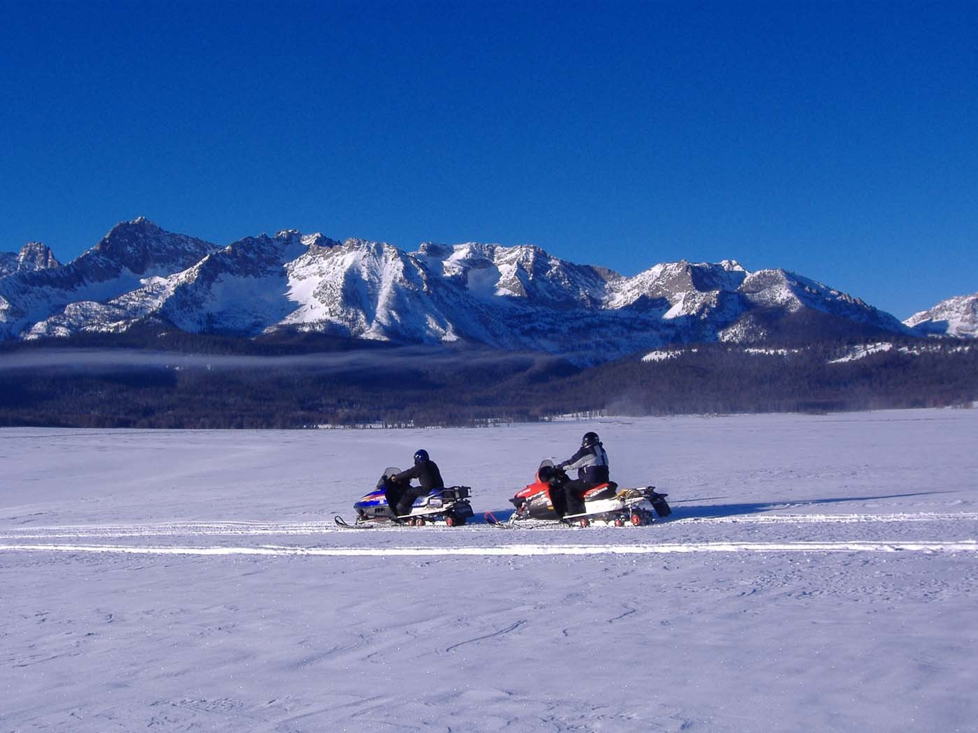 Two snowmobilers travelling on a snow covered trail with trees and mountains in the background.