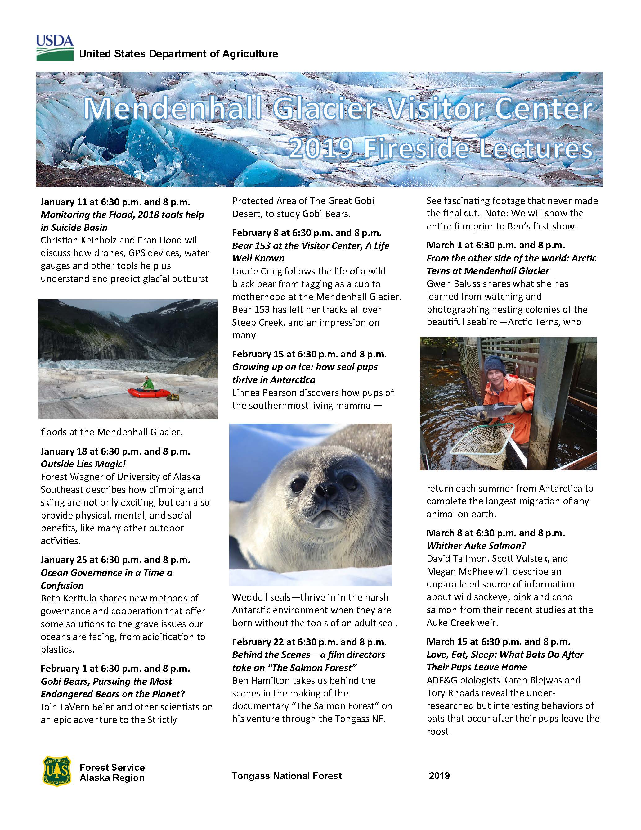 Mendenhall Glacier Visitor Center 2019 Fireside Lecture Schedule