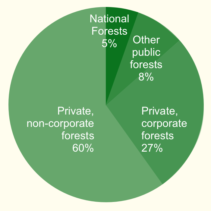 Pie chart showing forest ownership in the Southern Region