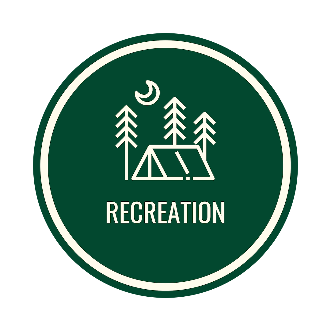 gree circle icon with a tent and trees