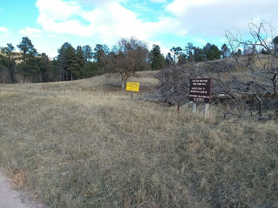 Trailhead sign in grassy area