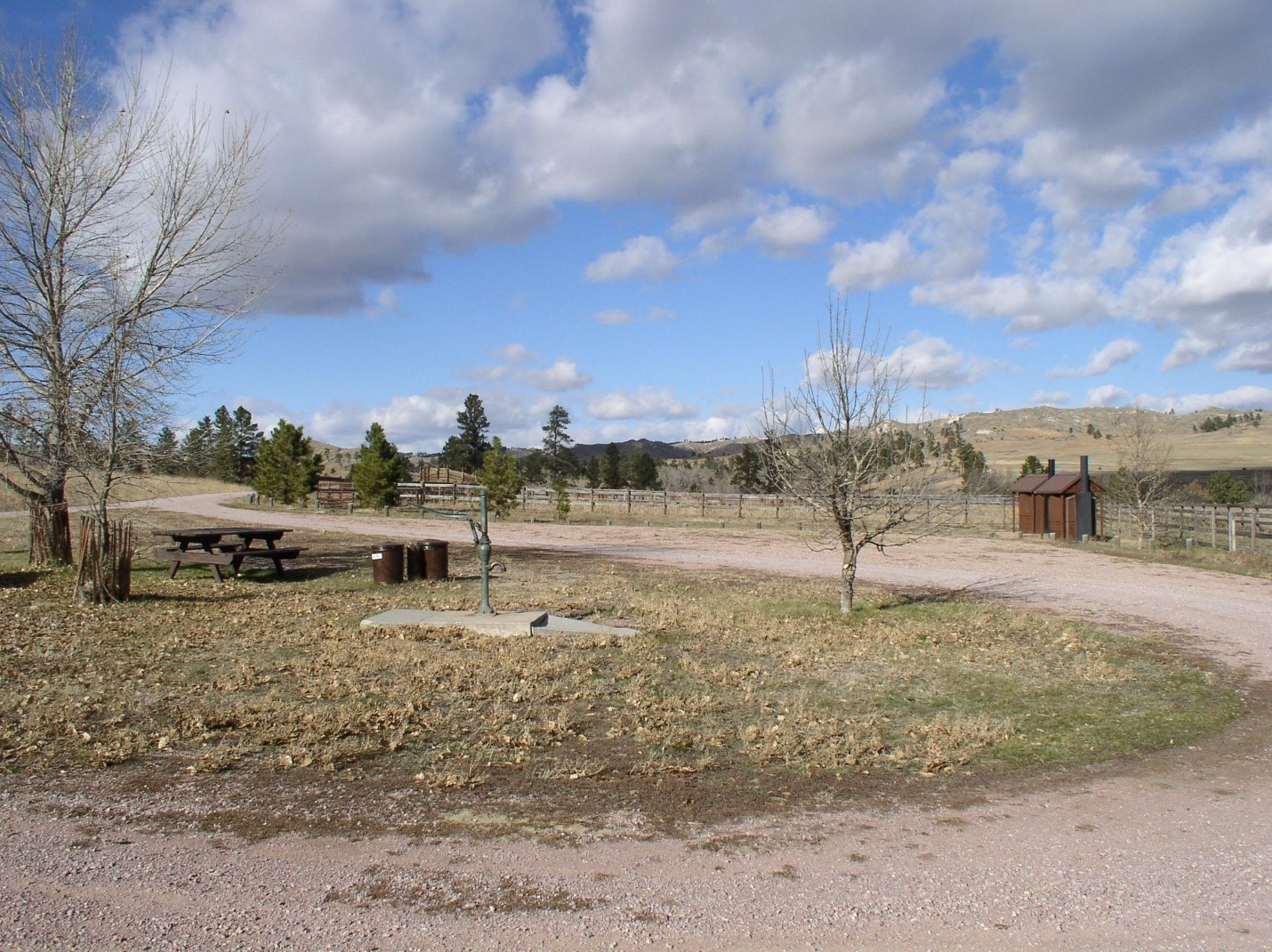 Picnic tables and horse corrals in a grassy open camping area