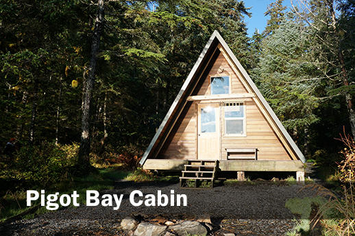 A picture of Pigot Bay A-frame Cabin from the front.