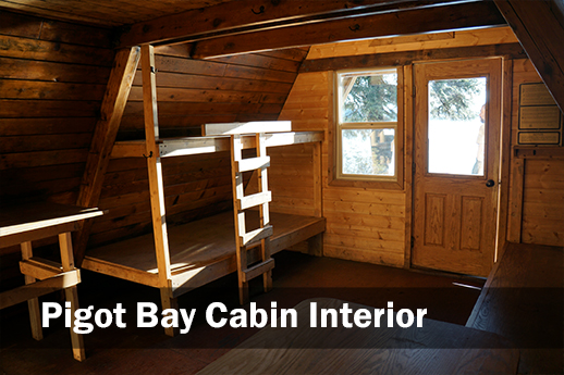 A photo of the interior of Pigot Bay Cabin