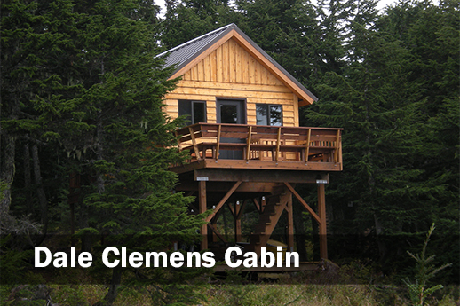 A photo of the front deck of Dale Clemens cabin.