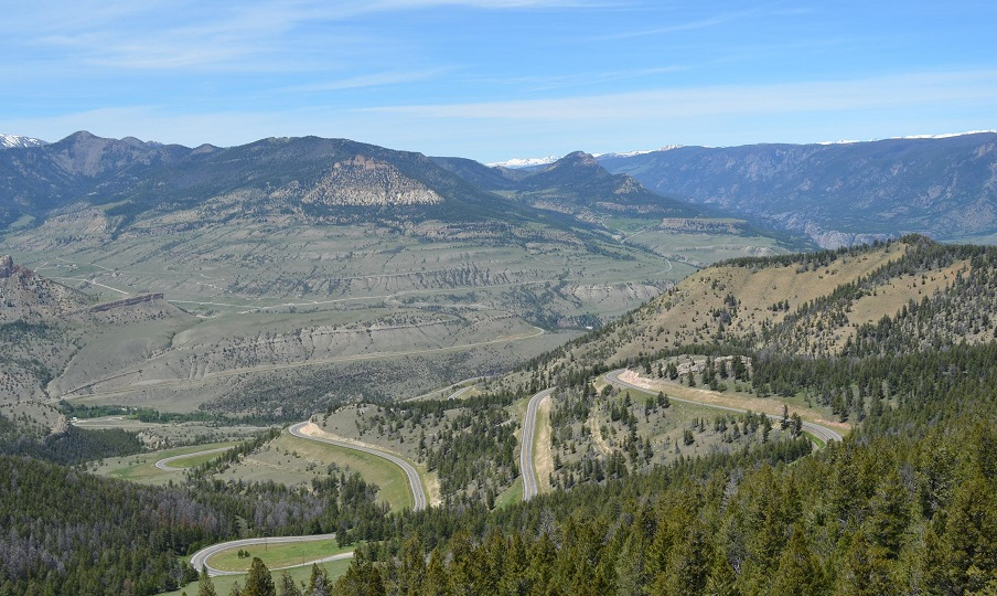 View of expansive forested river valley