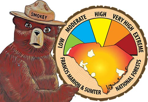 Smokey with fire level sign