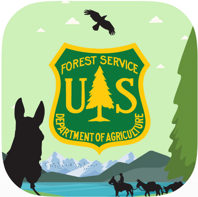 Icon with the Forest Service shield and silhouettes of mules, mountains, and a raptor