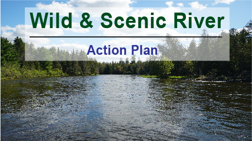A photo of the au sable with the words Wild and Scenic Action Plan