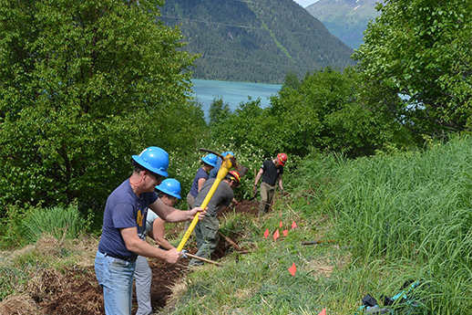 A line of volunteers working on a trail. Trees, water and mountains in the background.