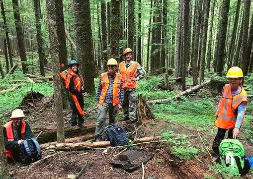 A group of peoplein hard hats pause for a photo while working in the forest.