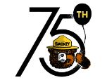 Smokey Bear with a balloon for 75th year preventing wildfires