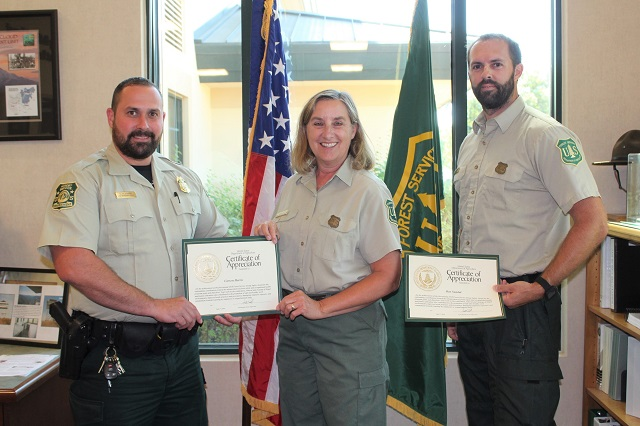 Two Shasta-Trinity National Forest employees receive the national safety award for 2018