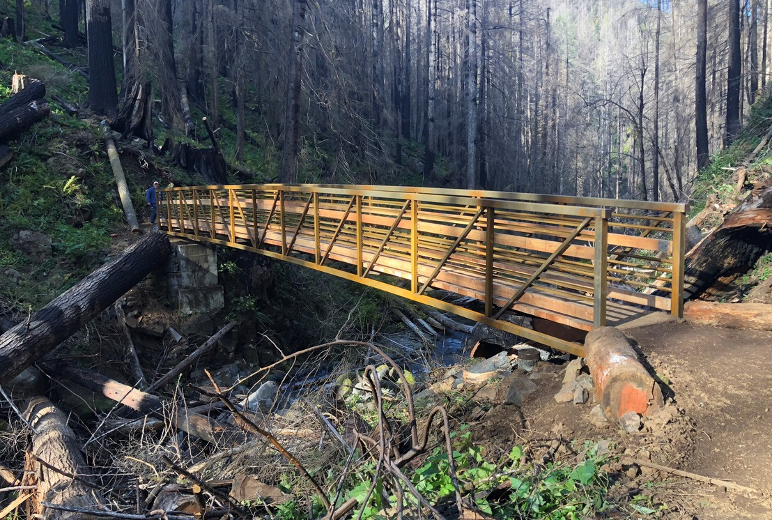 New wood bridge along Larch Mountain Trail spans a large creek.