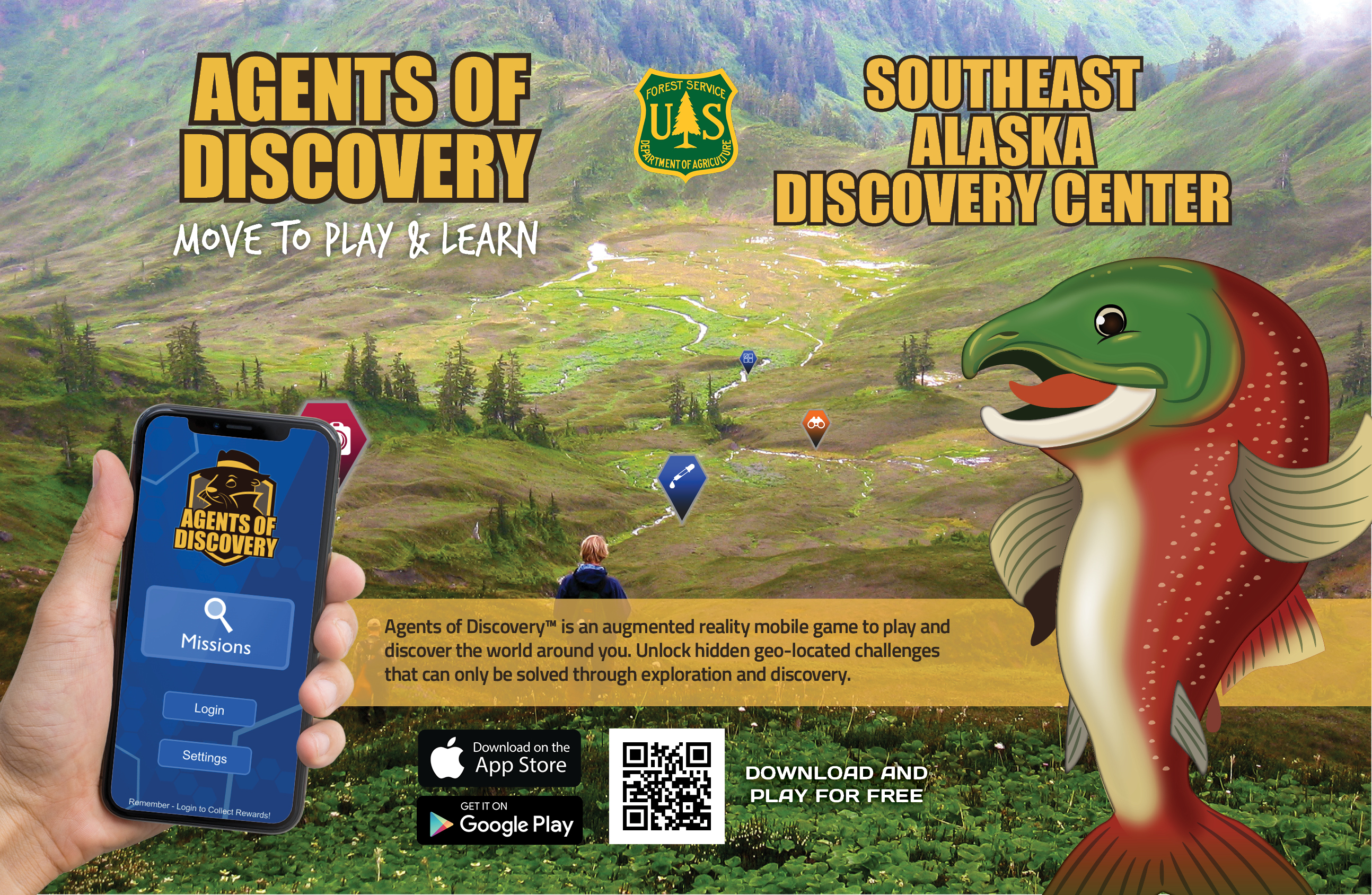 Agents of Discovery Southeast Alaska Discovery Center poster with Sammy Salmon