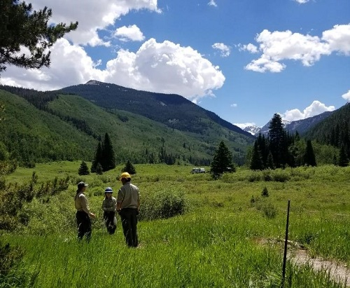 District recreation staff in a grassy alpine meadow.
