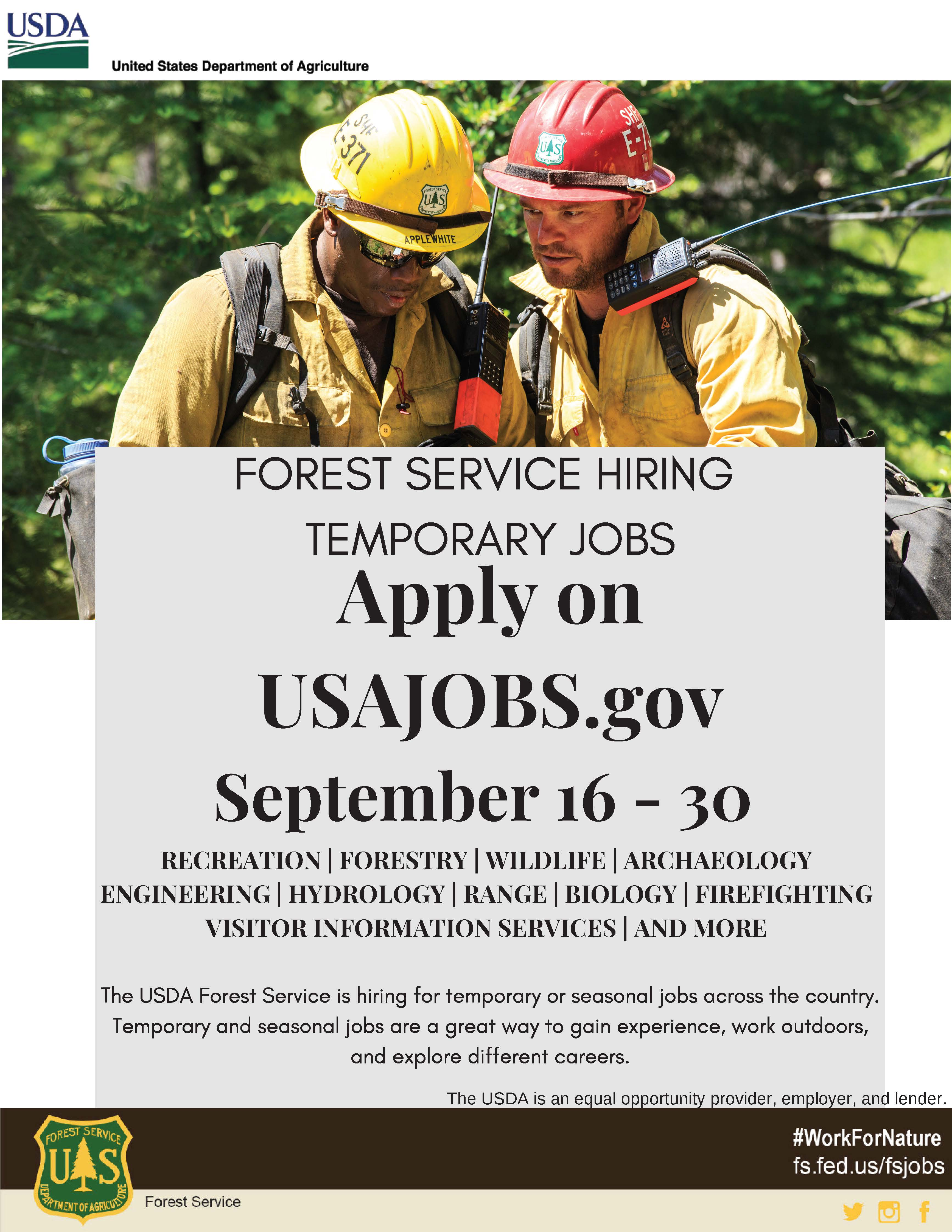 An advertising flyer for the 2010 Forest Service temporary hiring event