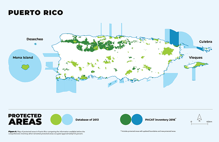 Figure 6. Map of protected areas in Puerto Rico comparing the information available before the comprehensive inventory when terrestrial protected areas occupied approximately 8.6 percent.