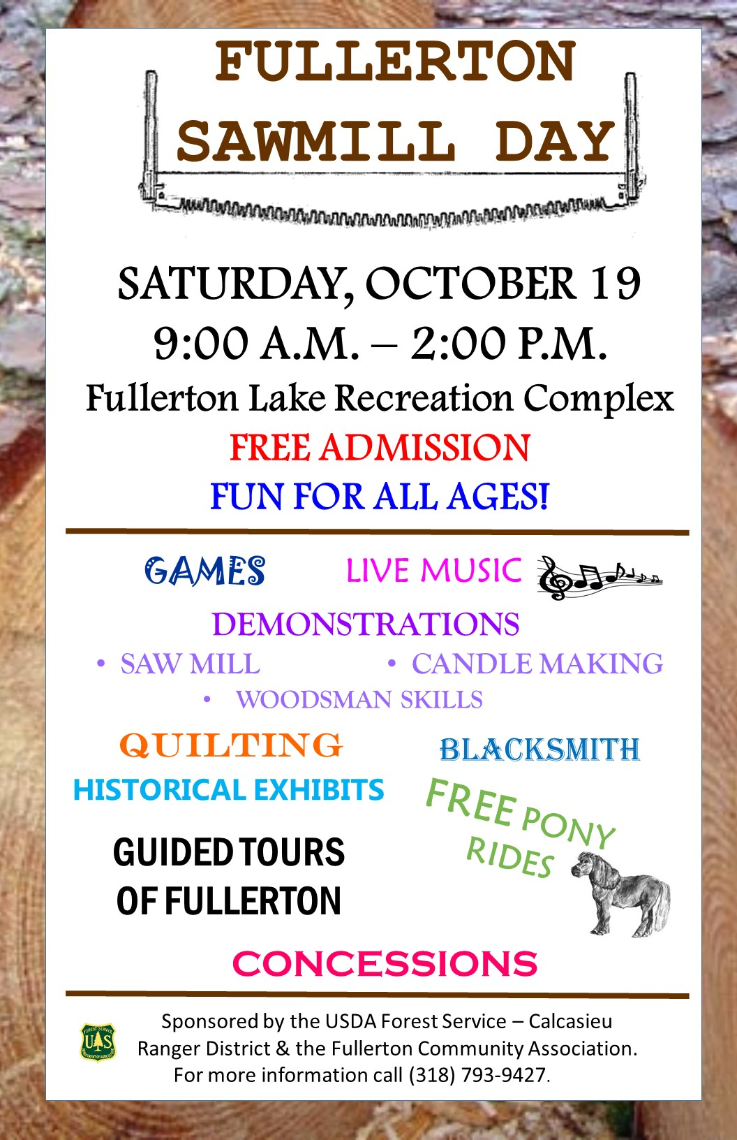 Flyer detailing activities at the 2019 Fullerton Sawmill Day