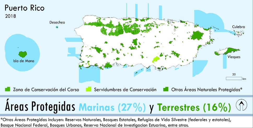 Map showing the terrestrial and marine protected areas of Puerto Rico in 2018.