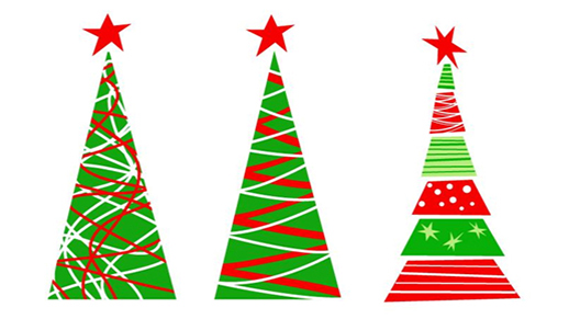 Three artsy Christmas trees graphic.