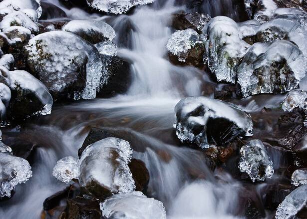 Close up photo of stream over rocks and ice