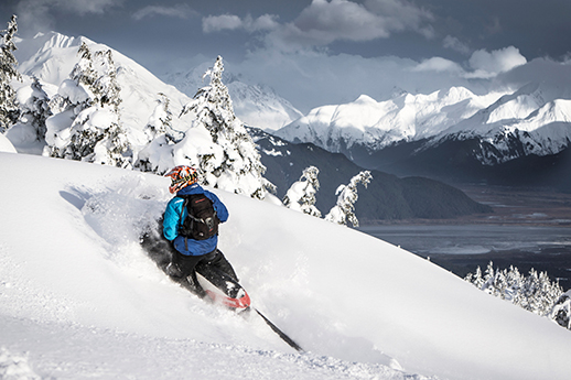 A snowmobiler in Turnagain Pass.