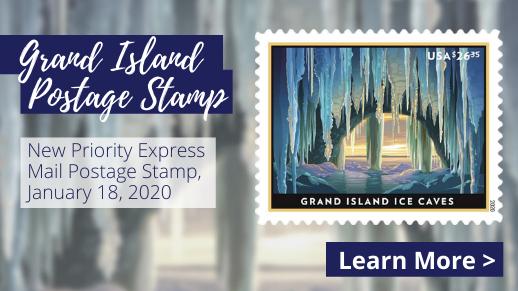 Grand Island Portage Stamp press release.