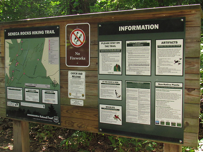 An image of trail signage at Seneca Rocks