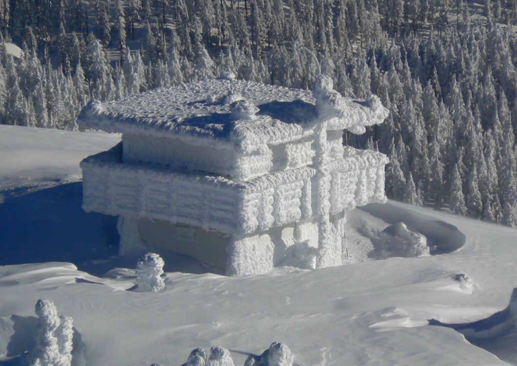 Black Mountain Lookout covered in snow, Winter 2020