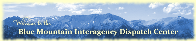 Blue Mountain Interagency Dispatch Center logo featuring panorama of the Blue Mountains