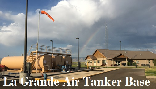A distant panorama view of the La Grande Air Tanker Base.