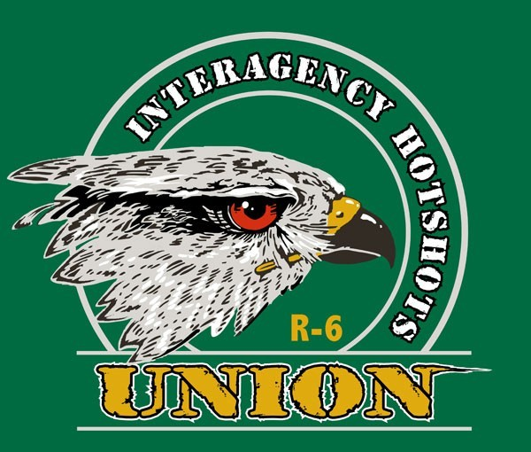 Logo for Union Interagency Hotshot Crew featuring the side profile of a falcon.