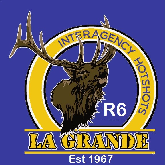 Logo for the La Grande Interagency Hotshot crew featuring the head of a bull elk bugling.