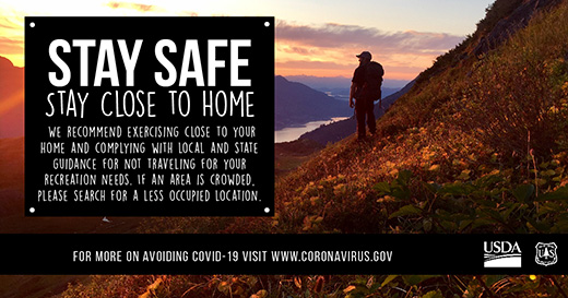 A COVID-19 message for folks to stay safe and stay close to home