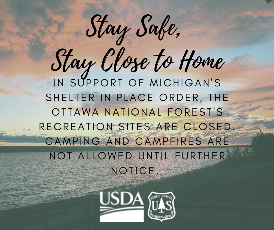 Image with: Recreation sites are closed. Camping and campfires are not allowed until further notice.