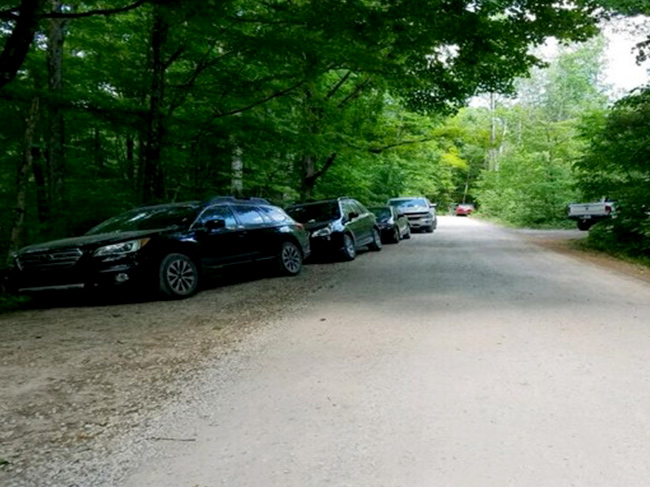 Cars line the Tower Ridge road in violation of policy