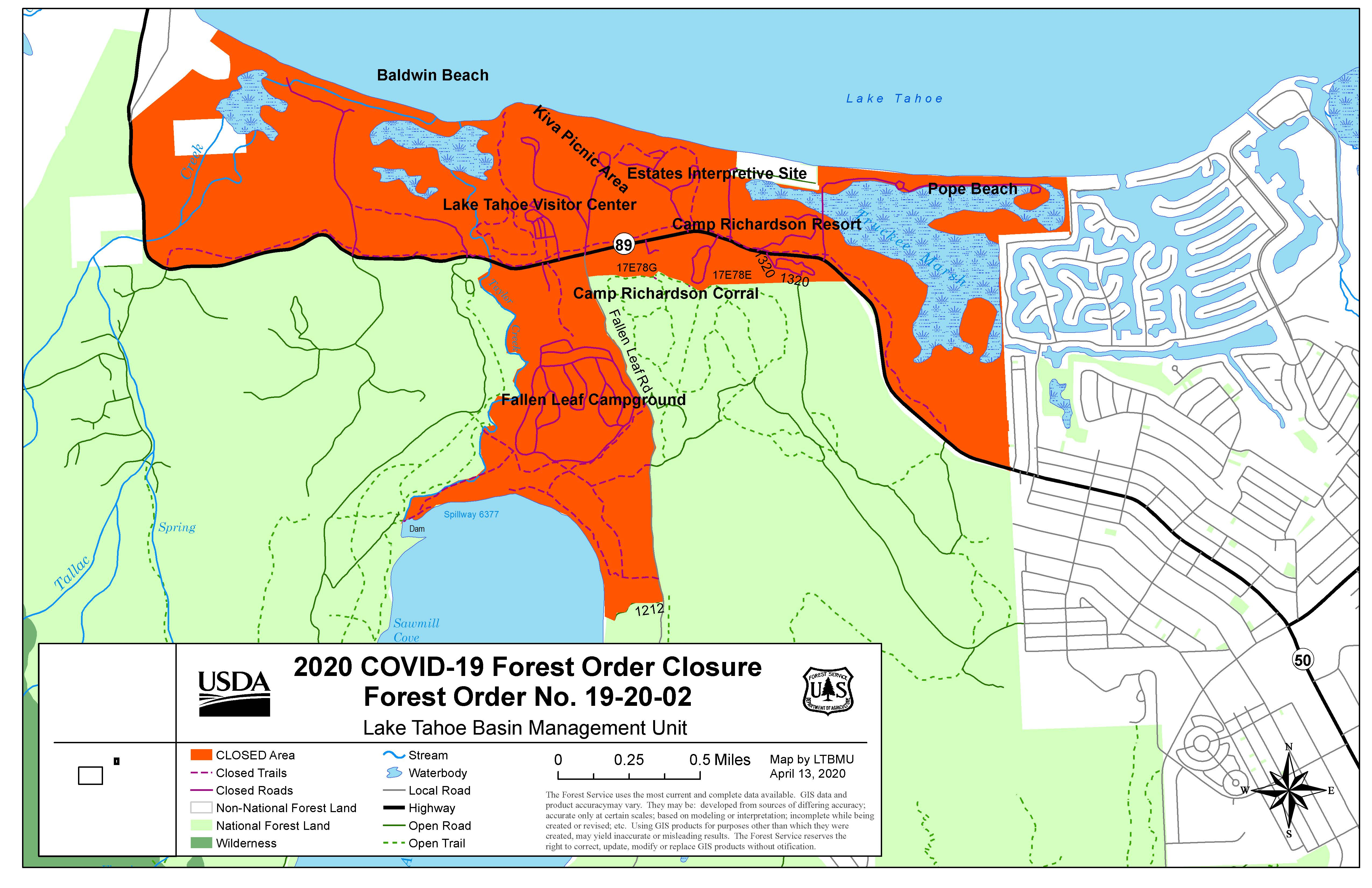 Map of South Shore Recreation Area closures