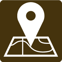brown icon showing maps symbol