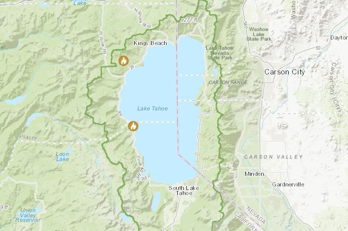 Map of prescribed fire project locations in that Tahoe Basin.