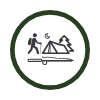 Camper with tent icon