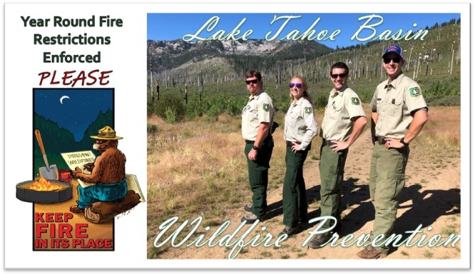 Left side is an image of Smokey Bear and a campfire. Right side is an image of wildfire prev. team
