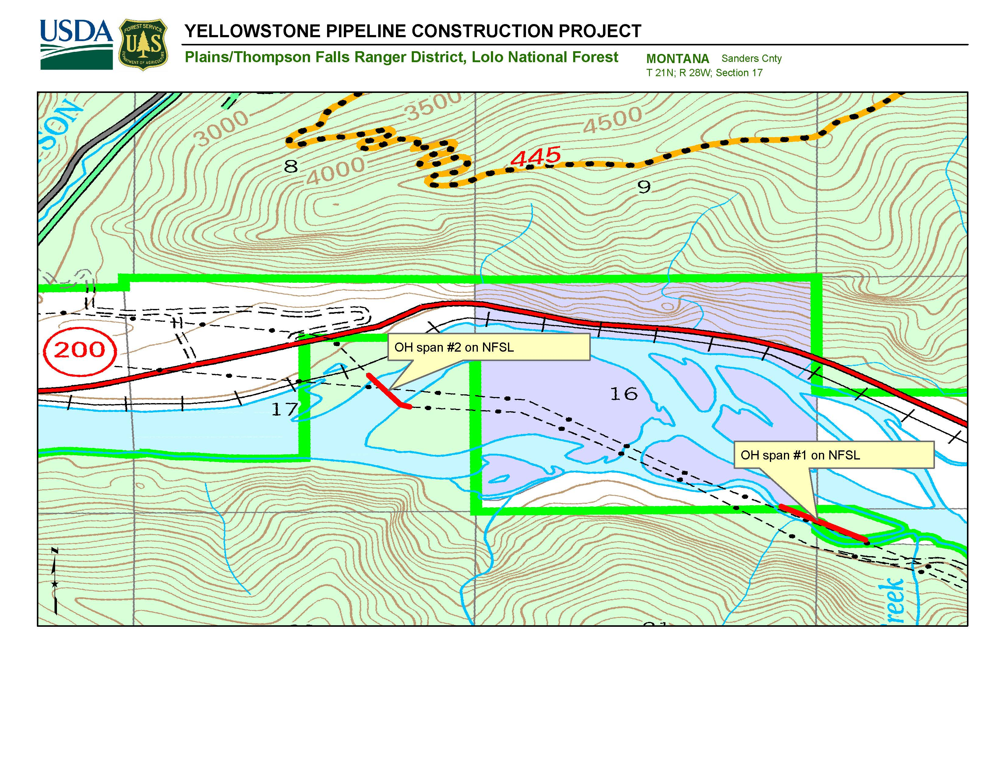 Map showing location of YPL Pipeline Removal