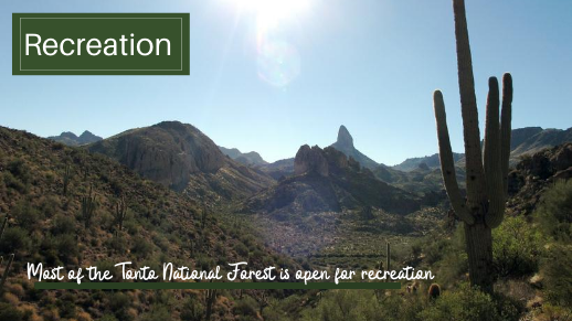 Most of the Tonto National Forest is open for recreation
