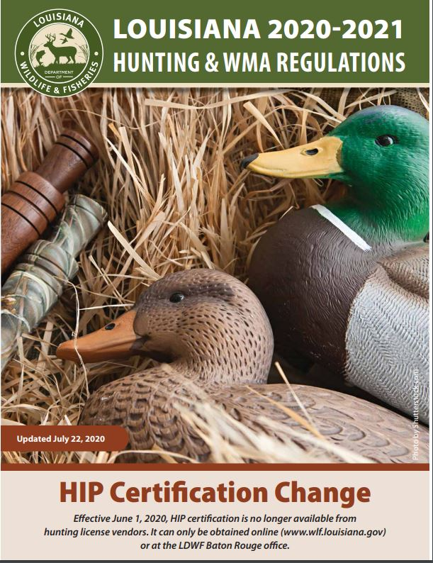 Cover of the 2020-2021 Louisiana state hunting regulations